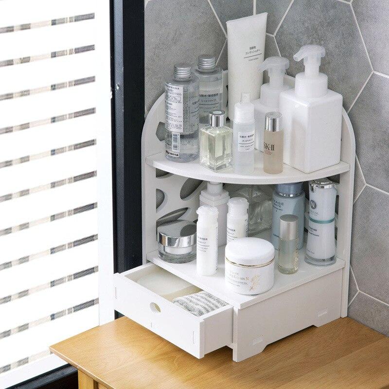 الخشب البلاستيك مجلس الرف مع درج متعدد الطبقات Triangulation الحمام الحمام جدار الزاوية تخزين الرف المنظم