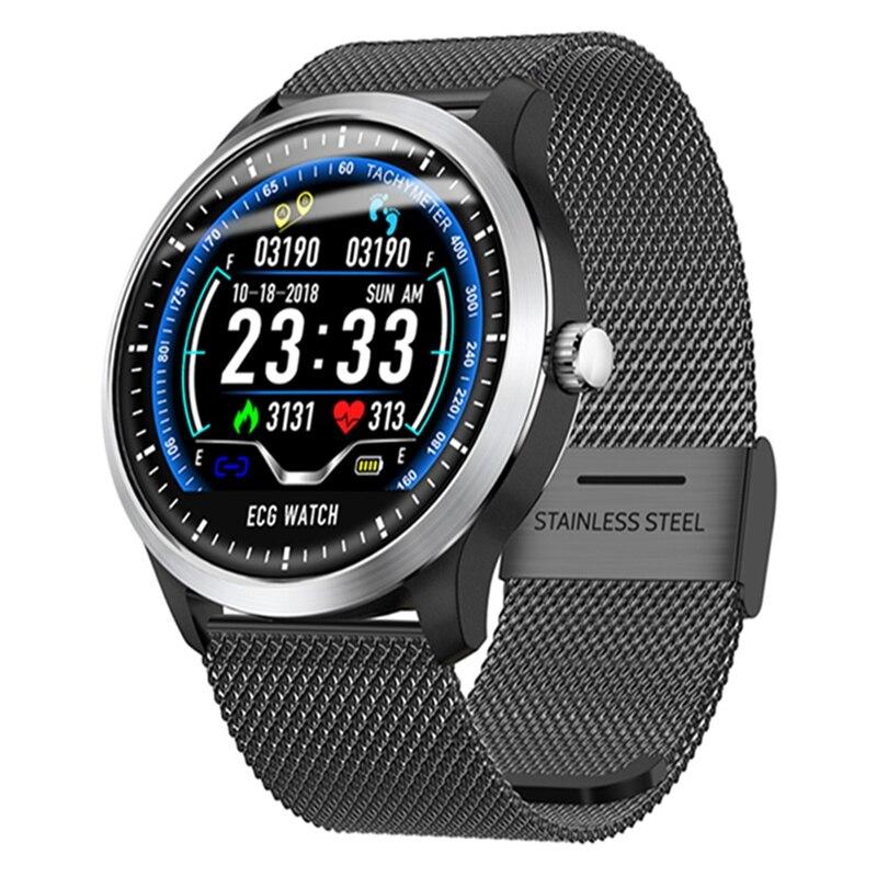Reloj inteligente Bakeey N58 ECG Display de acero inoxidable de cuero de medición de electrocardiograma Multideportivo bluetooth