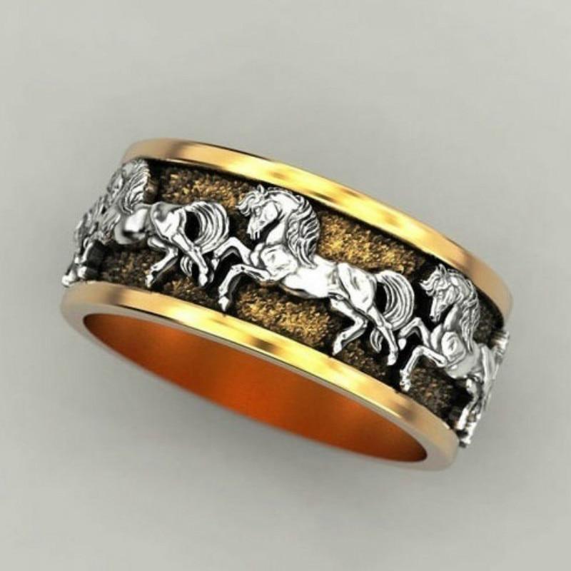 CHUHAN elegante dos tonos joyería para hombres Punk Mustang anillo de banda de boda Hip-hop anillo de caballo de acero inoxidable para hombres tamaño 6-13