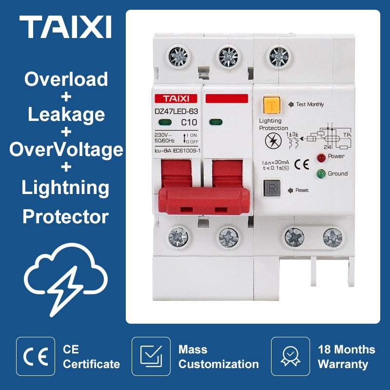 SPD Residual current circuit breaker with surge protector RCBO RCCB with Lightning protection MCB Leakage protector