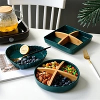 luxury kitchen utensil emerald ceramic plate snack plate ceramic appetizer tray nuts container serving dishes for parties