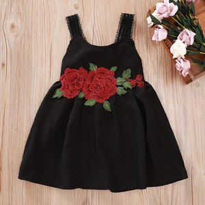 Summer 2020 Girls Dress Baby Girls Cute Dress Strap Rose Embroidery Black Fashion Casual Girl Dress Vestido 1-5T