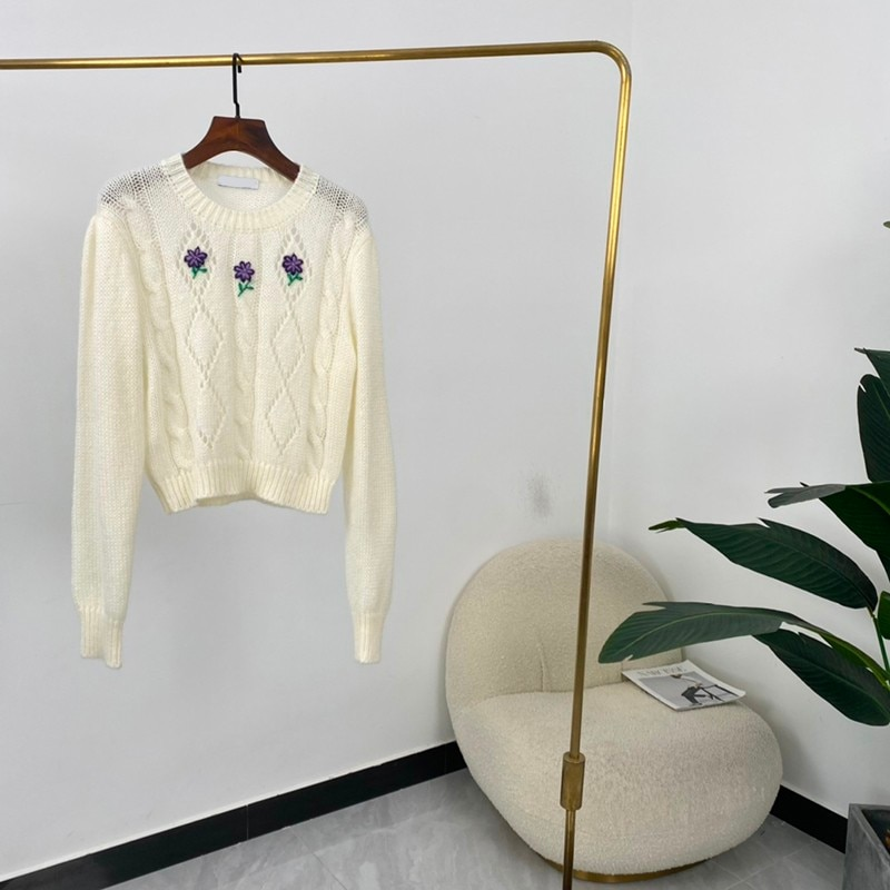 High Quality Autumn Women Fashion Solid Flower Embroidery Long Sleeves Sweater enlarge
