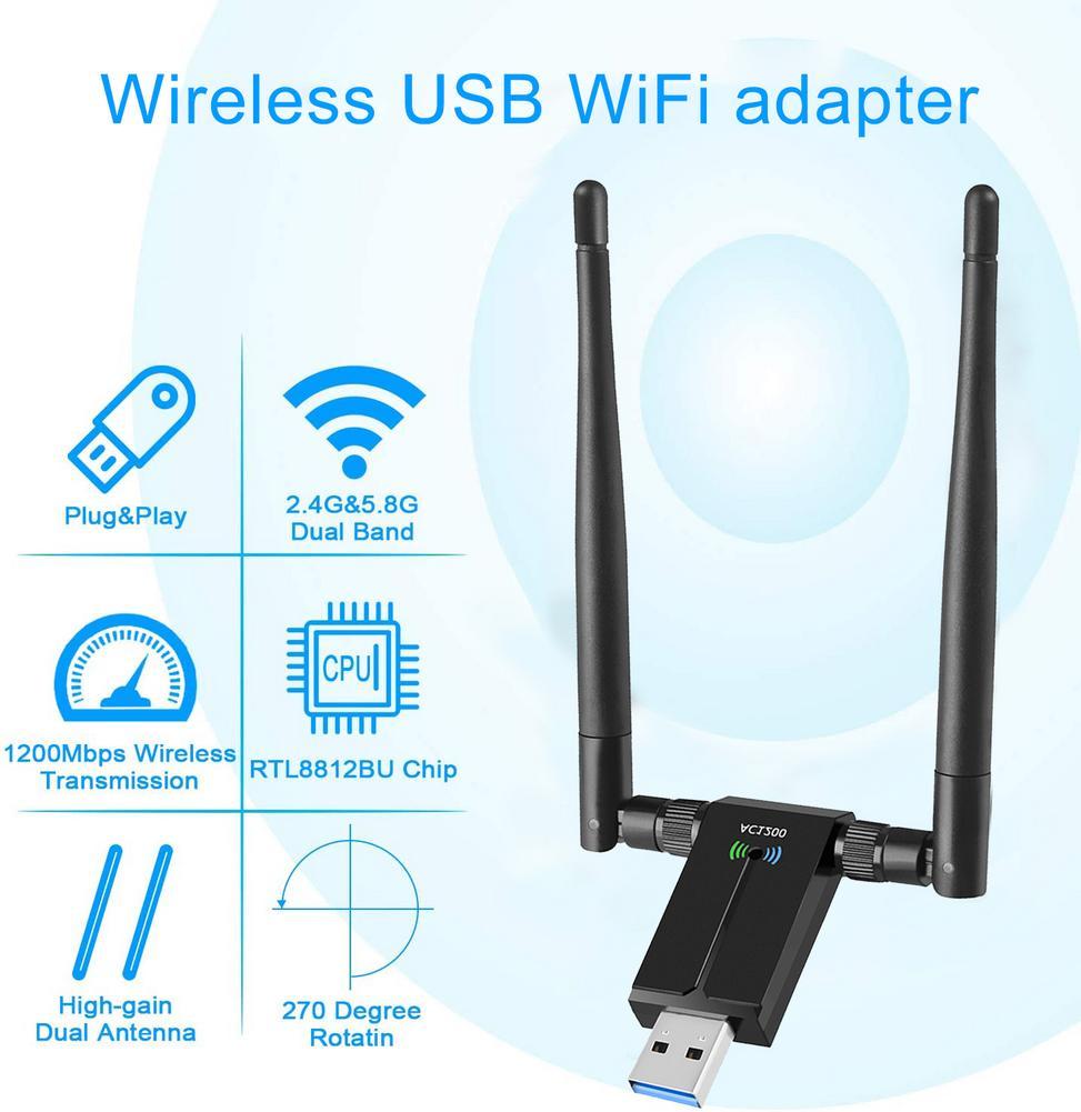 Tarjeta de red inalámbrica de adaptador WiFi USB inalámbrico con antenas duales 5dBi, adaptador de red de ordenador USB de 1200Mbps, 2,4G/5,8G con WiFi