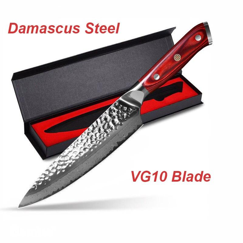 """Cuchillo de Chef de acero de Damasco japonés Vg10 8 """"profesional cuchillo de carnicero de cortadora de corte de cuchillos de cocina, forjado"""