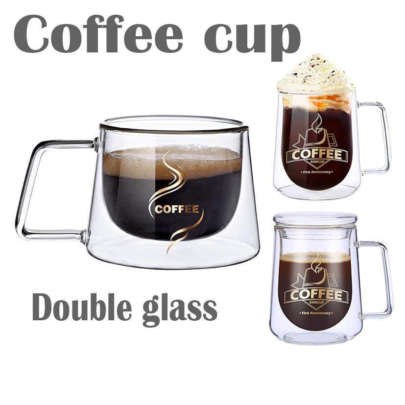 Taza de café de cristal doble de 200ML con tazas con asa, Taza de leche de aislamiento para beber, taza de té, regalo creativo, cristalería para cafetería