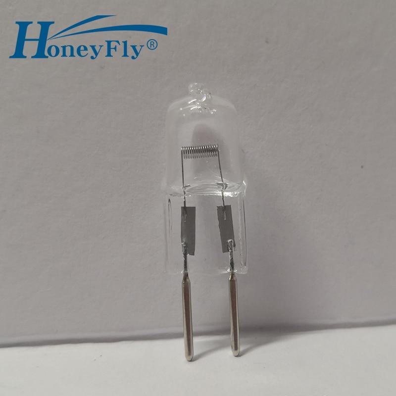 Honeyfly 10 pçs gy6.35 lâmpada halógena 12v 20w 35 50 warmwhite halogênio lâmpada clara g6.35 cristal microscópio de luz