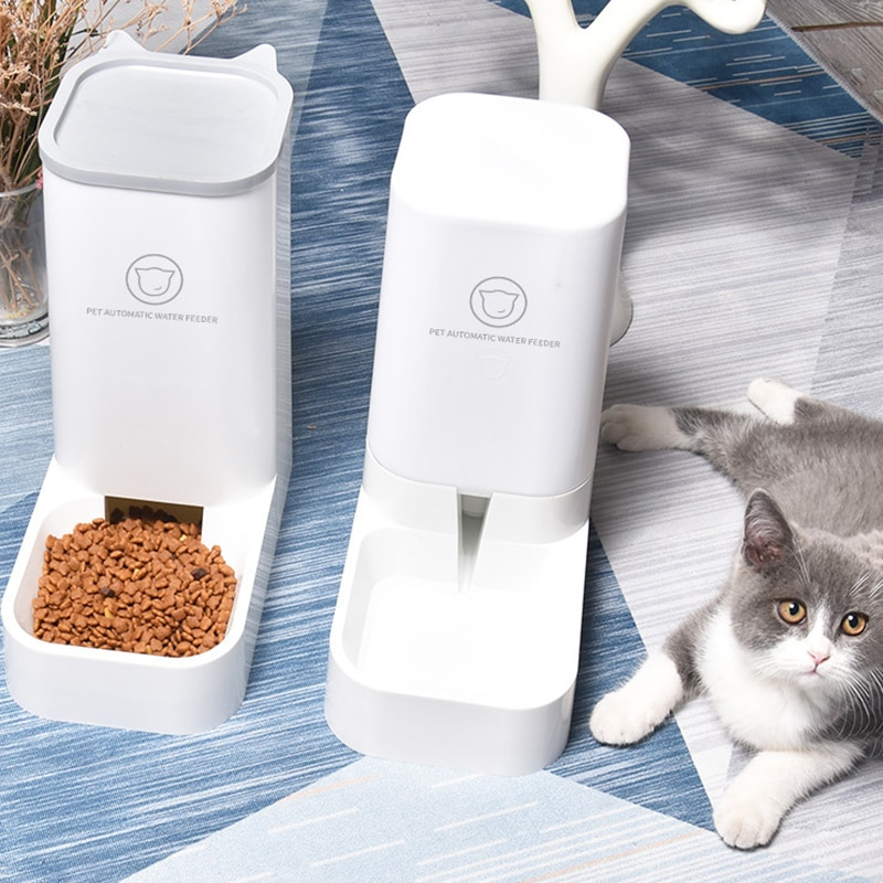 Comedero automático para perros y gatos, comedero de agua para cachorros, dispensador de comida para gatos, contenedor de alimentos para mascotas, envío directo