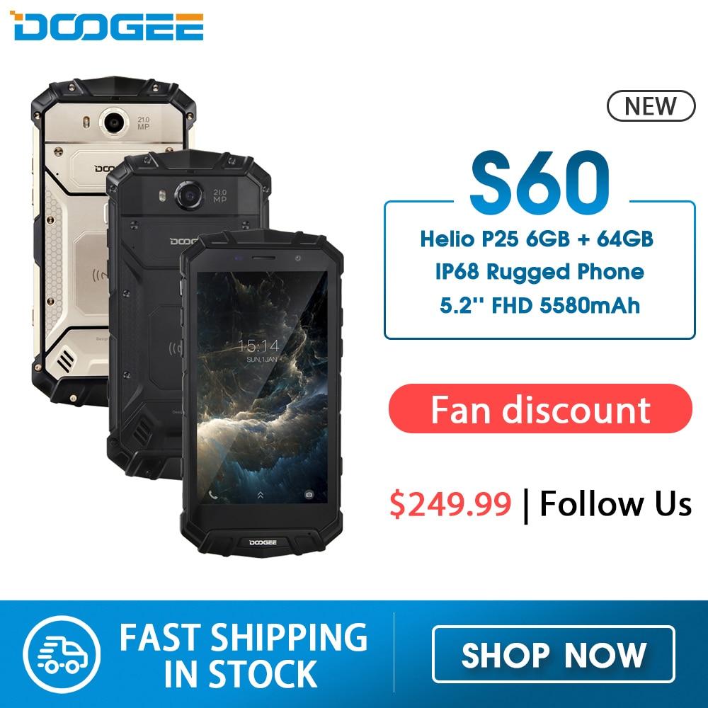 DOOGEE S60 смартфон с 5,2-дюймовым дисплеем, восьмиядерным процессором Helio P25, ОЗУ 6 ГБ, ПЗУ 64 ГБ, 5580 мАч