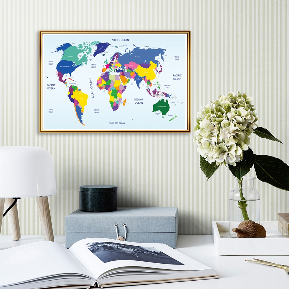 colorful world map wall decor 150x225cm large world map office supplies detailed antique poster wall chart for culture supplies 84*59cm The World Map Canvas Painting Wall Art Poster fabric Printing Living Room Classroom Home Decor School Supplies
