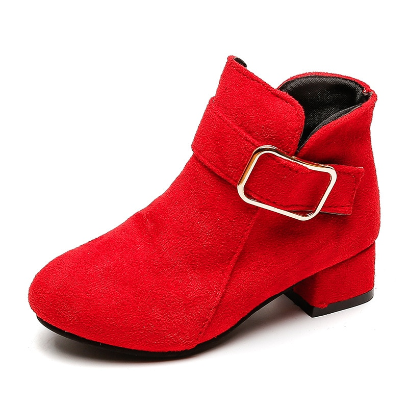 High-Heeled Girl Snow Boots Leather Winter Shoes For Kids Ankle Boots Children Girls Autumn Boots 4 5 6 7 8 9 10 11 12 Year Old