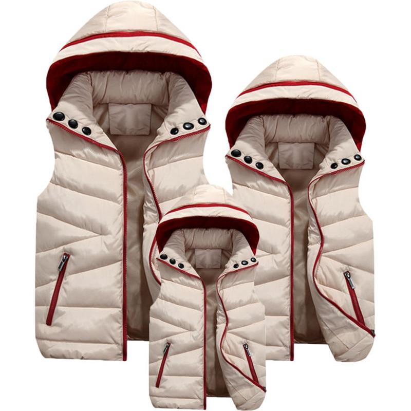 موضة الأسرة مطابقة الملابس الشتاء الأم الأب ابنة الابن الدافئة سترة الرجال أسفل سترة الخريف طفل الفتيات الفتيان معطف مقنع