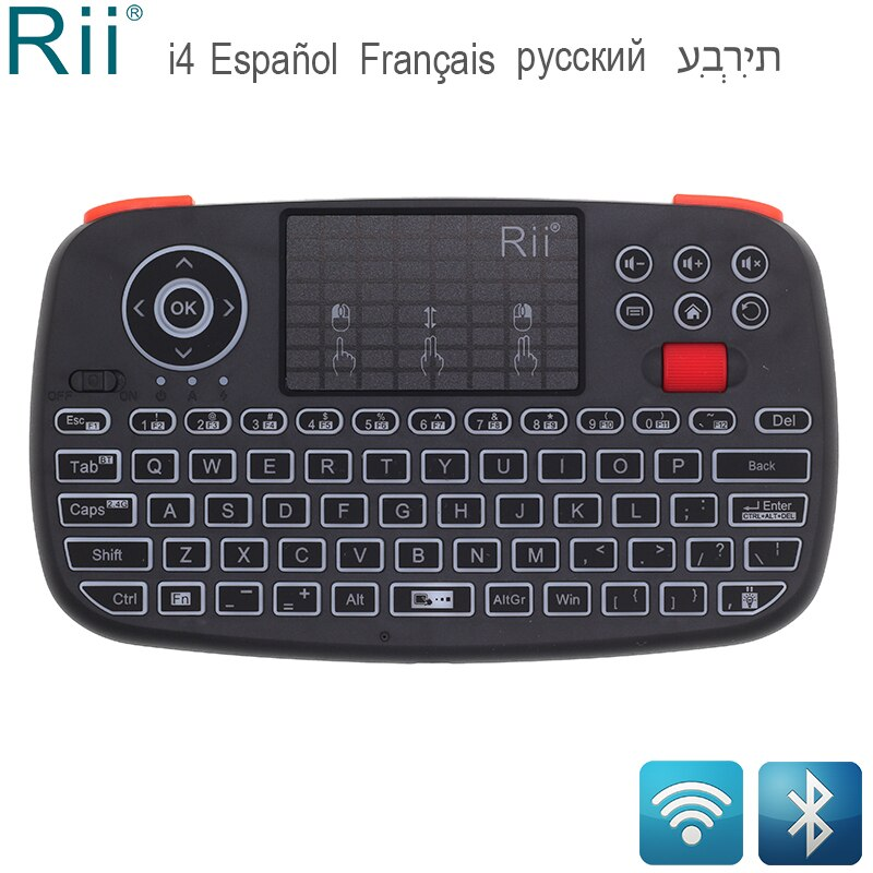 Rii RT726 (i4) Mini teclado Bluetooth ruso francés hebreo español 2,4 GHz Air Mouse con almohadilla táctil para Android TV Box Mini PC