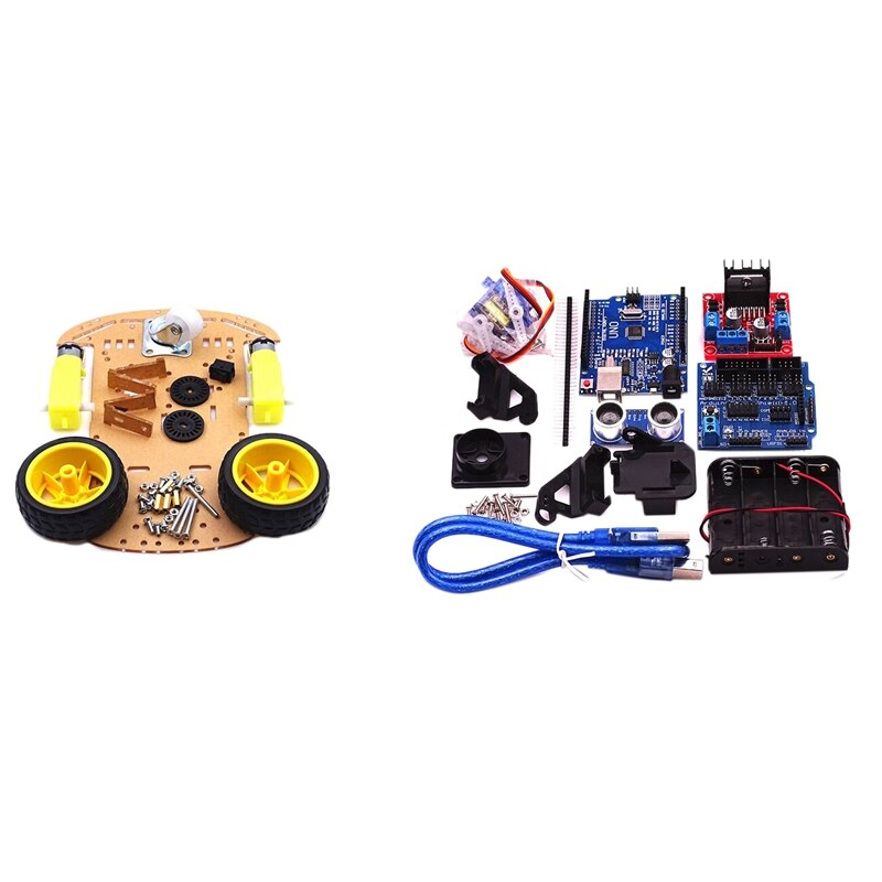 robot 4wd Smart Robot Car Chassis Kit Speed Encoder Battery Box 4WD Ultrasonic Module for Arduino Kit