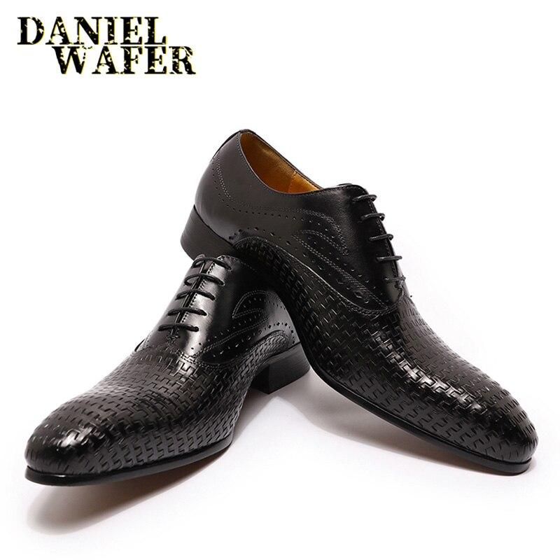 الايطالية الفاخرة الرجال أكسفورد أحذية هندسية يطبع الدانتيل يصل أشار تو براون الأسود الرجال فستان رسمي مكتب الزفاف أحذية من الجلد