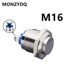 MONZYDQ 16mm IP67 Metal Push Button Switch Waterproof Self-reset Momentary Locking Latching NO High / Flat / Momentary Round