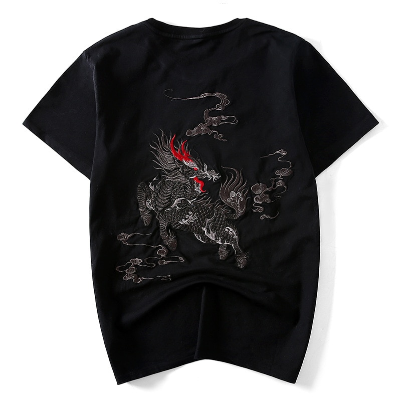 Summer New National Tide Chinese Style Unicorn Embroidery Loose Fat Guy Pure Cotton Short-sleeved T-shirt Men