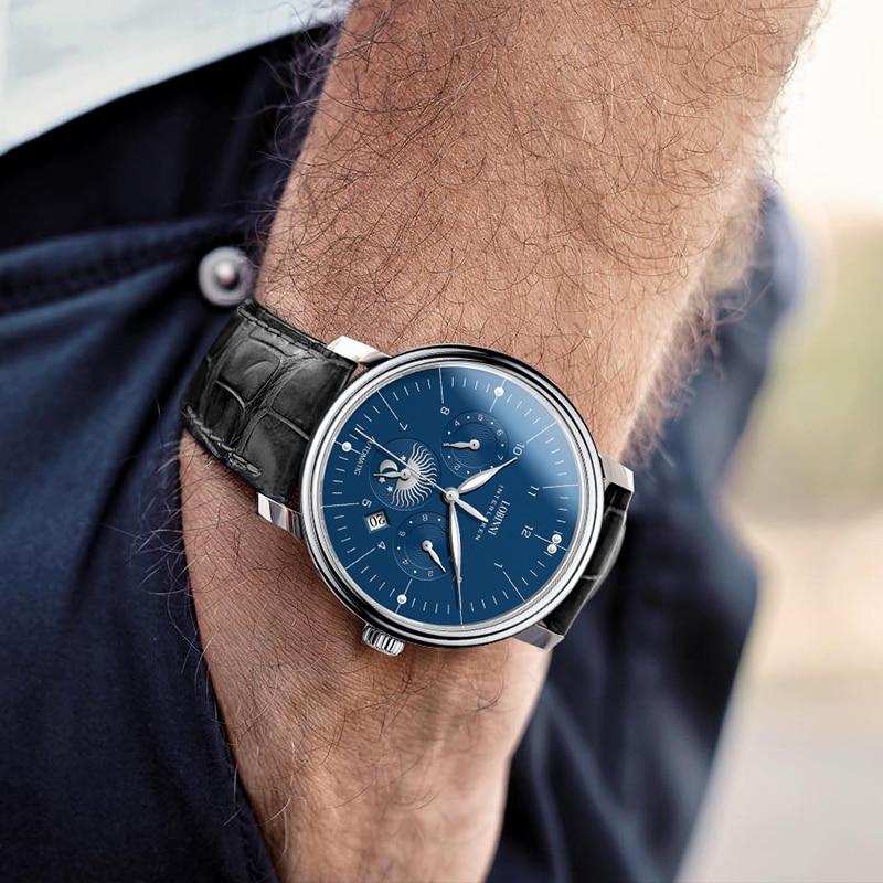 Luxury Brand Switzerland LOBINNI Men Watches Perpetual Calender Auto Mechanical Men's Clock Sapphire Leather relogio L15008-1 enlarge