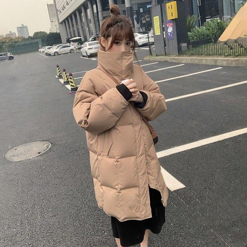 CNJESSIE-جاكيت قطن طويل ، معطف سميك ودافئ ، ياقة واقفة ، ملابس خارجية غير رسمية كبيرة الحجم ، شتاء 2020