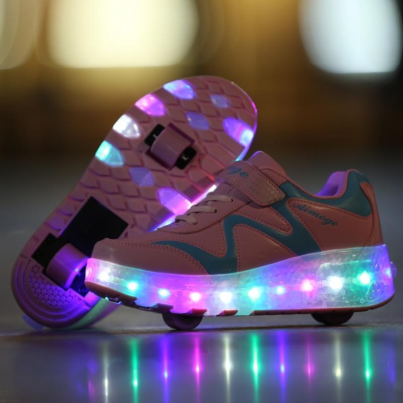 Niños Zapatos de luz LED niños Zapatillas brillantes Con ruedas niño niña...