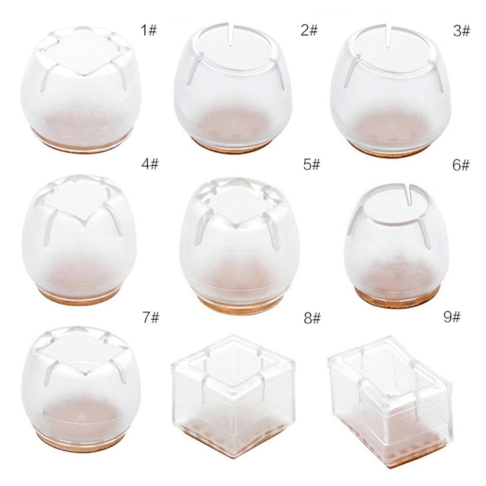 12 piezas pata de silla tapas de redondo cuadrado rectángulo silicona Protector de mesa de muebles de pies cubre pies de goma