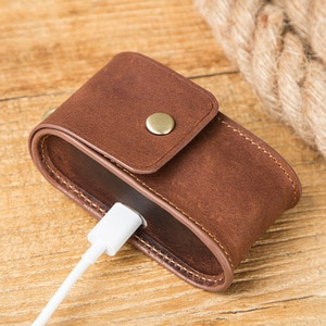 Earphone Cases for Surface Earbuds Case Genuine Leather Box with Carabiner Cover