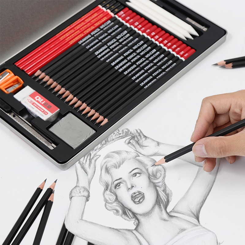 Desenho-kit de material de lápiz de carbón para carpintero, estuche de papelería profesional, extensor profesional, para colorear