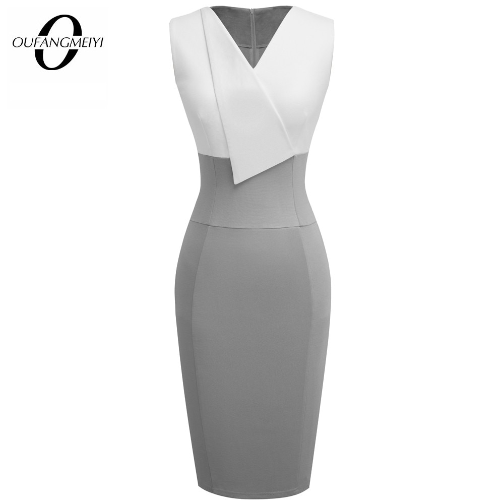 Summer Stylish Women Patchwork V-Neck Dress Elegant Casual Work Office Sleeveless Sheath Slim Dress EB529