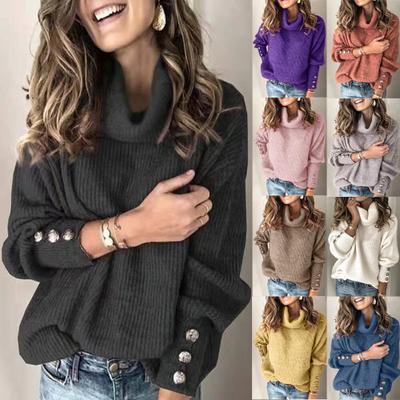 Женский свитер на осень/зиму, Однотонный свитер-водолазка, свитер, Топ