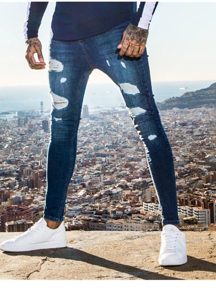 Мужские Узкие рваные джинсы в стиле хип-хоп, джинсы в уличном стиле, синие, серые, белые брюки-карандаш, облегающие байкерские брюки, верхняя ...