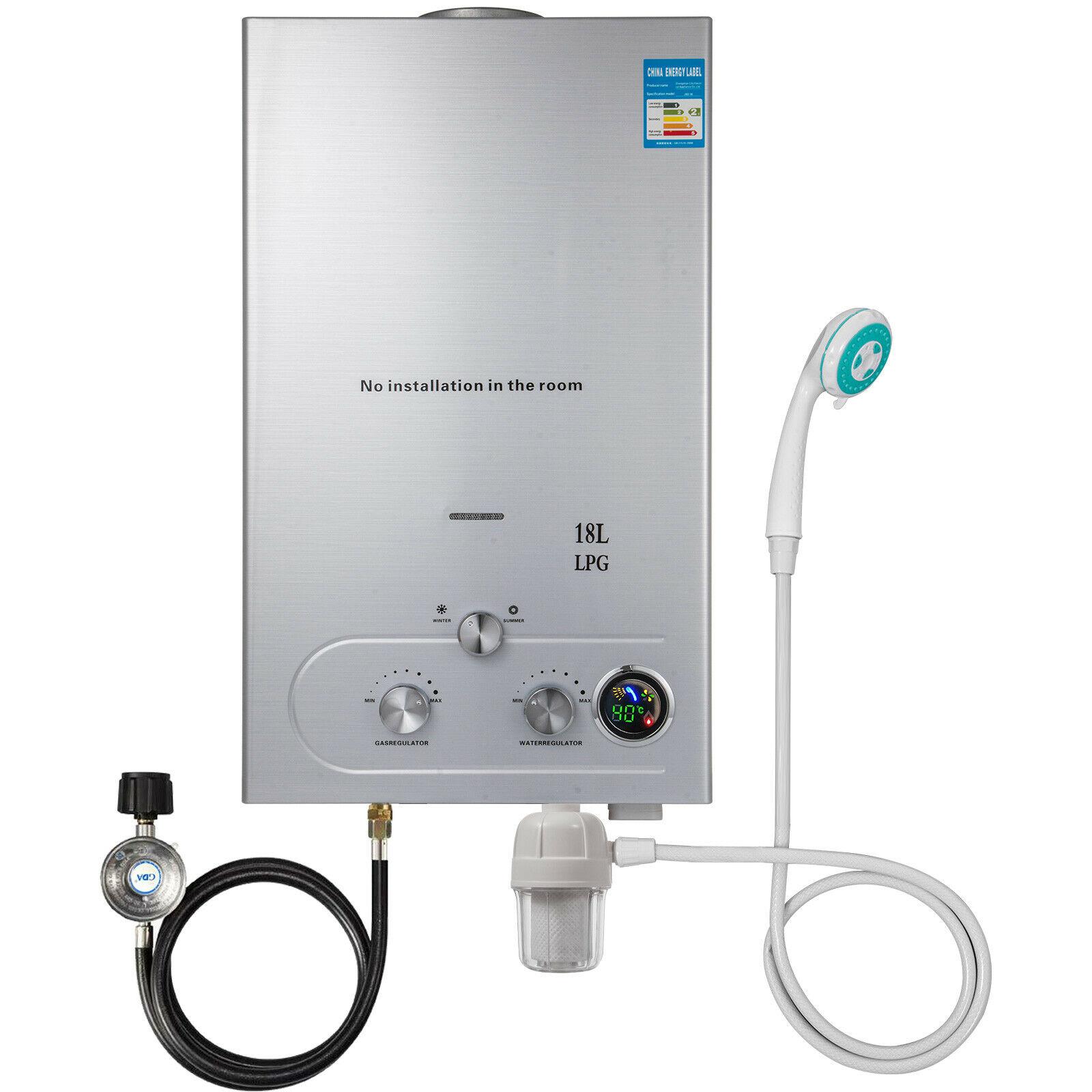 VEVOR ترقية البروبان الغاز سخان الماء الساخن Tankless 12/16/18L مع دش رئيس تصفية المياه الغاز منظم على الطلب المياه المرجل