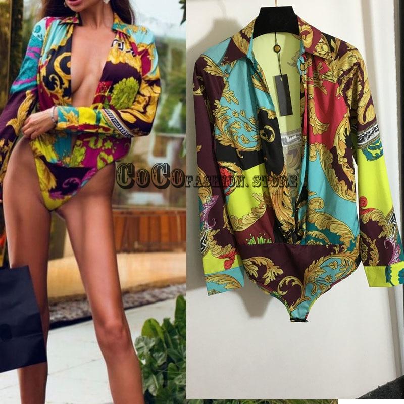 Luxury Design 21 branded Women Clothes bodysuit women jumpsuit vintage print sexy long sleeve woman Bodysuits Rompers jumpsuits
