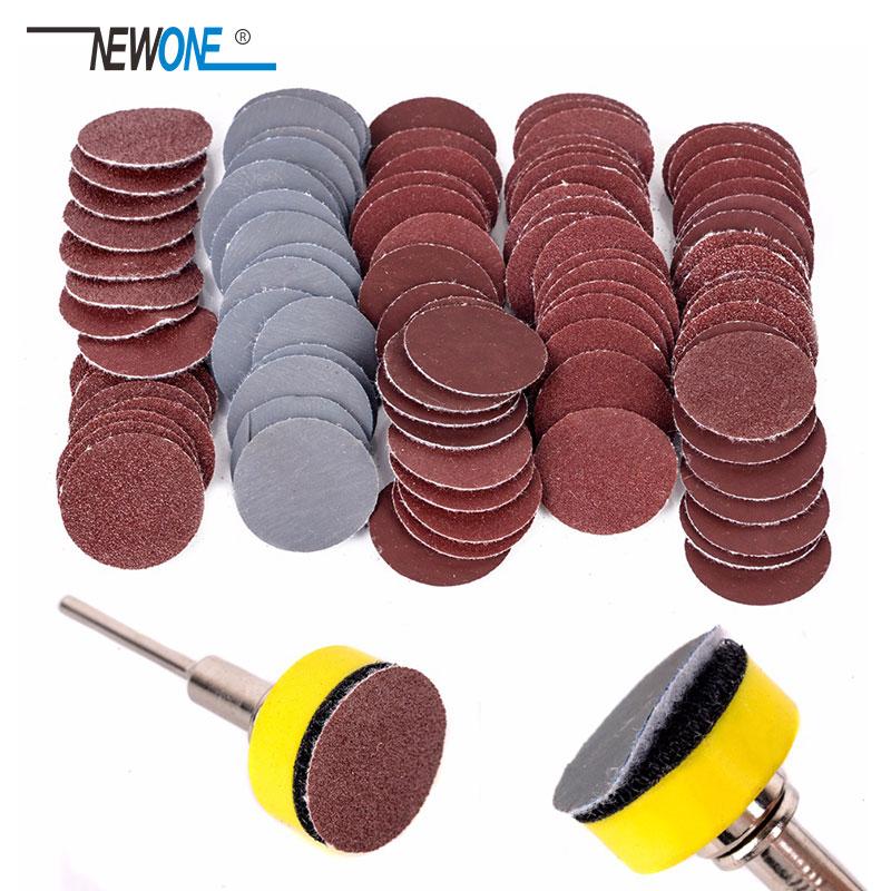 """100 pièces 25mm disques de ponçage de haute qualité + 1 """"abrasifs plaque d'appui crochet et boucle + tige 1 / 8inch pour outils de polissage"""