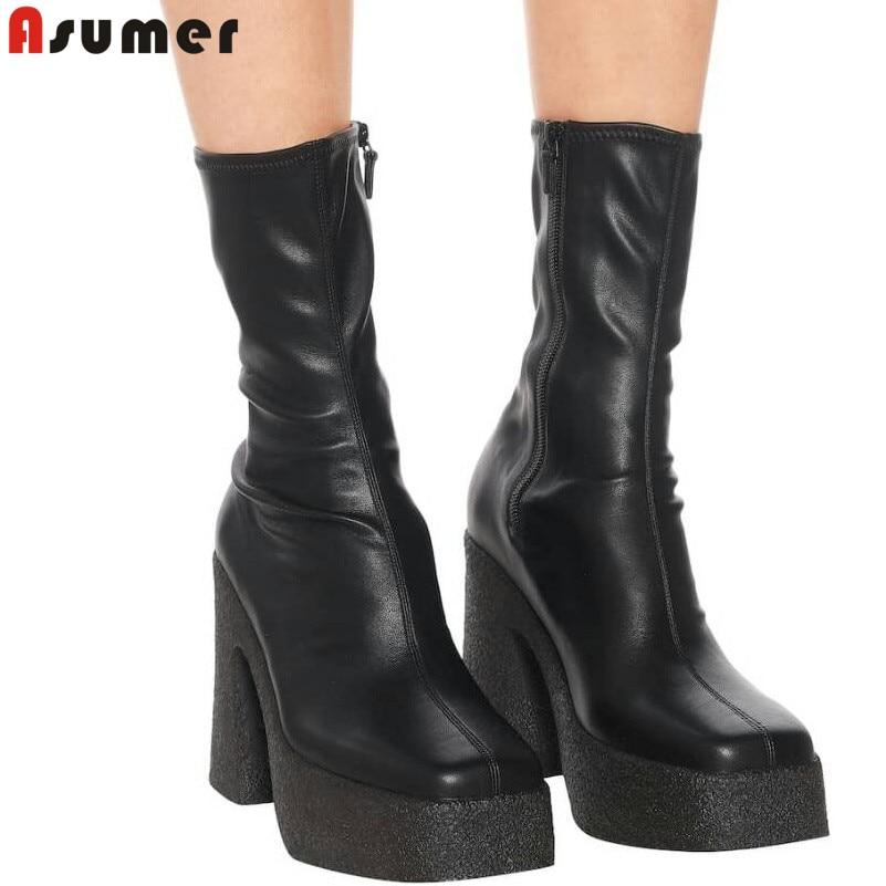 ASUMER INS-حذاء نسائي بنعل سميك ، حذاء مطاطي بسحاب بمقدمة مربعة ، مصنوع يدويًا ، للخريف والشتاء