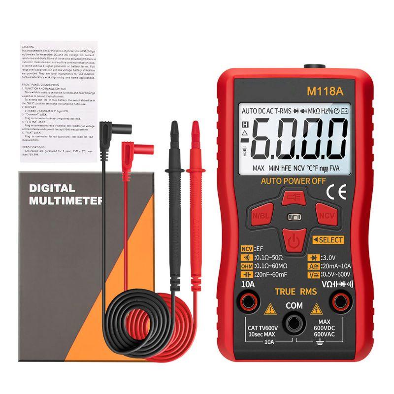 Multímetro Digital M118A rango automático probador de valores eficaces verdaderos NCV AC DC con linterna N58C