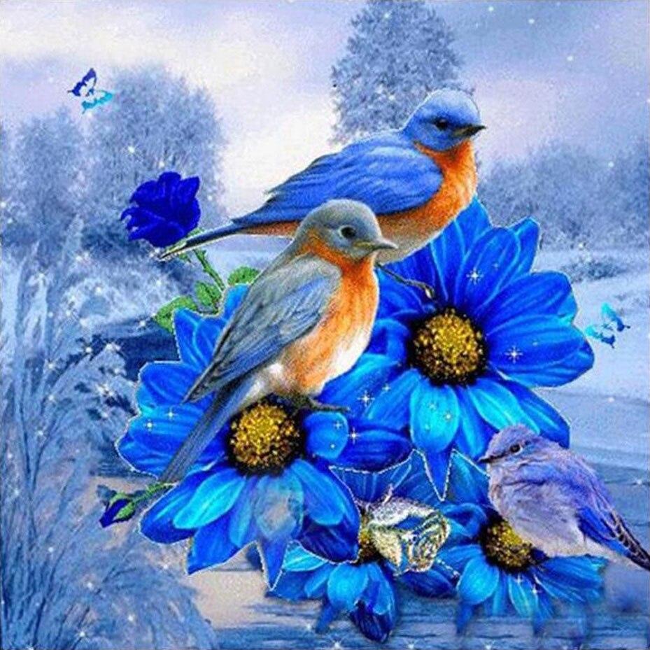 5D DIY pájaros bordados con Diamantes Azul pintura de flores, diamantes pájaro foto de diamante de imitación bordado de diamantes mosaico casa Decoración