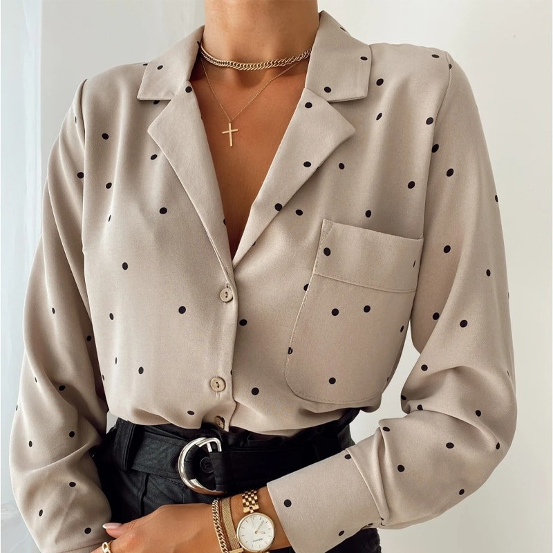 Pockets Polka Dot Printed Casual Women Blouse Ladies Long Sleeve Turn Down Collar Office Work Fashion 2020 Autumn Tops