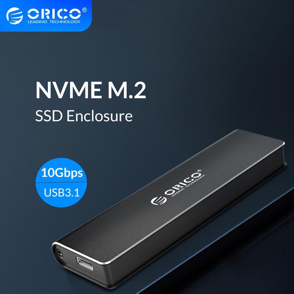 ORICO M.2 NVME SSD-صندوق قرص صلب من الألمنيوم, حافظة من النمط C USB 3.1 تدعم 10Gbps UASP M.2 USB NVME SSD ، صندوق قرص صلب من الألمنيوم