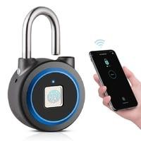 Bluetooth אבטחה ביומטרי טביעת אצבע מנעול keyless חכם מנעול עמיד למים טלפון APP בקרת USB נטענת