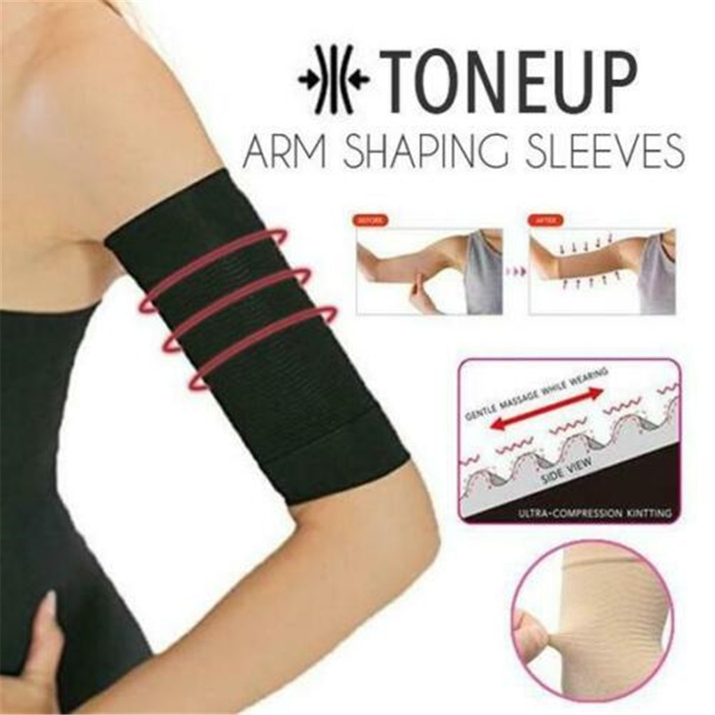1 par tonifica las mangas moldeadoras del brazo ropa moldeadora elástica para mujeres ropa moldeadora elástica adelgazante 420D