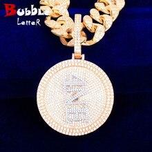 5x5cm nom personnalisé médaille pendentifs rappeur Style hommes colliers chaîne toute police lettre/numéro/symbole/couleur