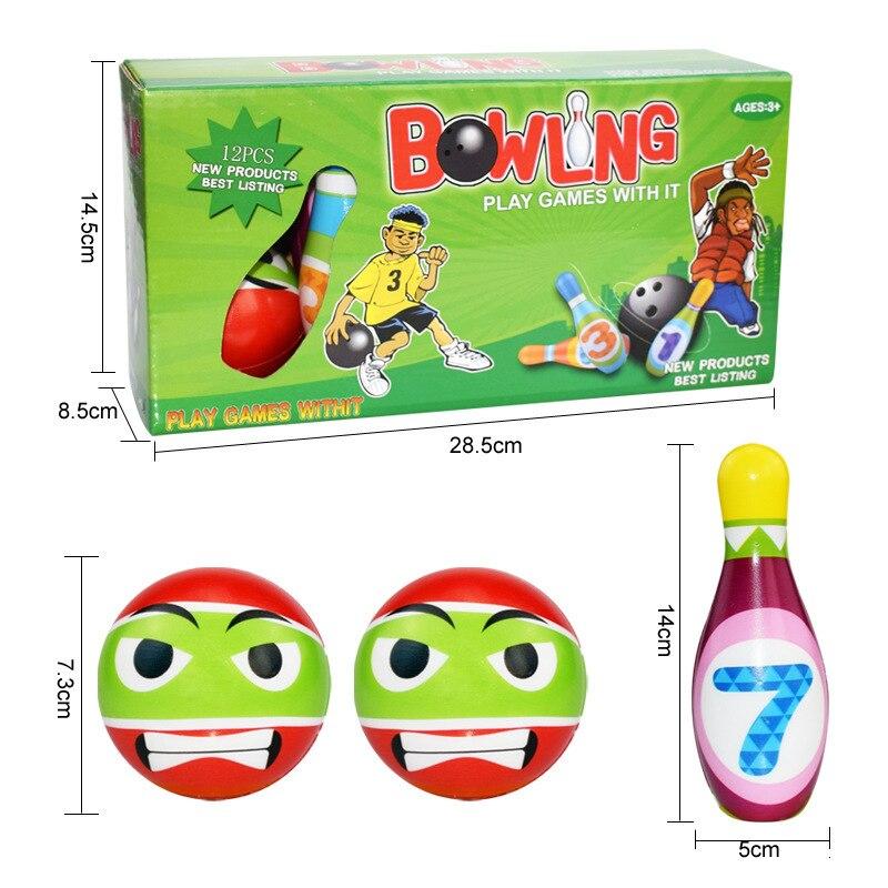 12 Uds. Pequeño juego de bolos juego dibujo animado jugando bolos bola niños fiesta favores Kit deporte Niño deportes juguetes regalo para los niños 1