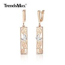 2019 New 585 Rose Gold Color Bar Drop Earrings for Women Girls Leaf Butterfly Dangle Earrings Wedding Party Jewelry GE274