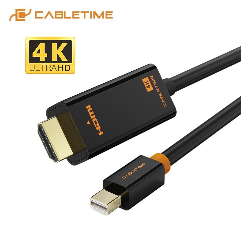 CABLETIME Mini Displayport a Cable HDMI 4K/HD/Thunderbolt 2 Mini adaptador de puerto de pantalla de Cable para MacBook Air Mini DP a HDMI C054