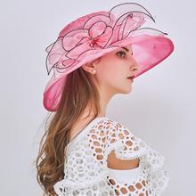 Boné de organza floral feminino, chapéu para festa de chá