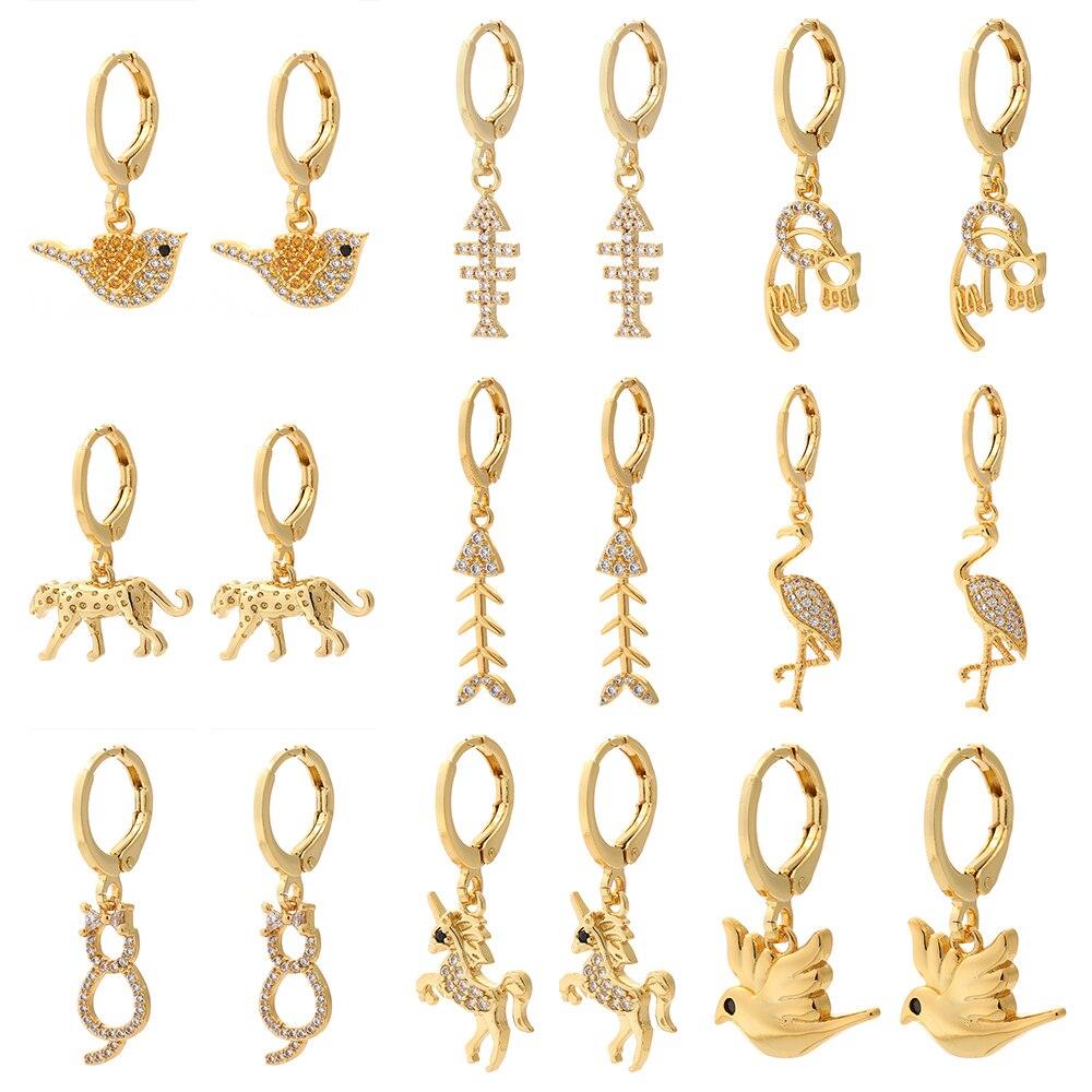 Bird Earrings for Women Gold Cat Fish Animals Dangle Earrings Micro Pave Zircon CZ Copper Earring Trendy Punk New Fashion 2021
