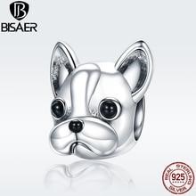 Bulldog BISAER 925 Sterling Silver Loyal Partners Bulldog Lovely Doggy Beads fit PAN Charm Bracelet Fine Jewelry GXC315