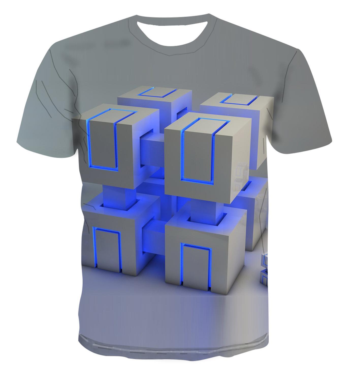 Popular trendy T-shirt geometric square t-shirt men's simple letter 3D cool unique print men's top 110-6xl