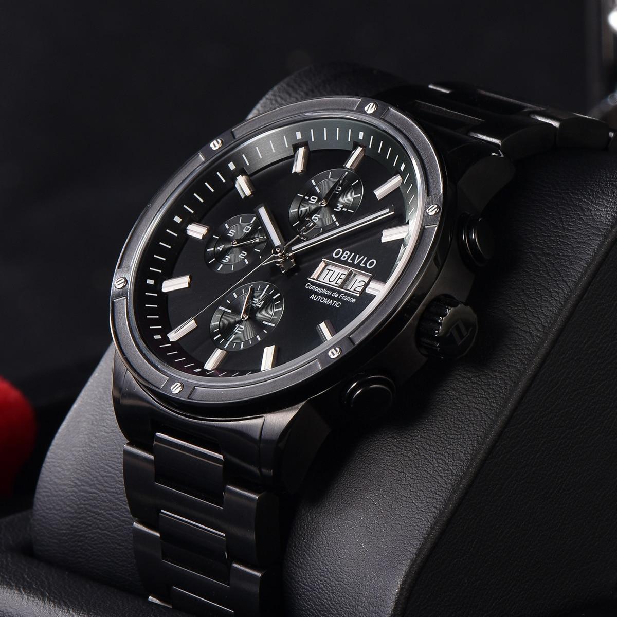 OBLVLO Men Watch Top Brand Automatic Mechanical Casual Watch All Black Date Watch Men Waterproof Rel
