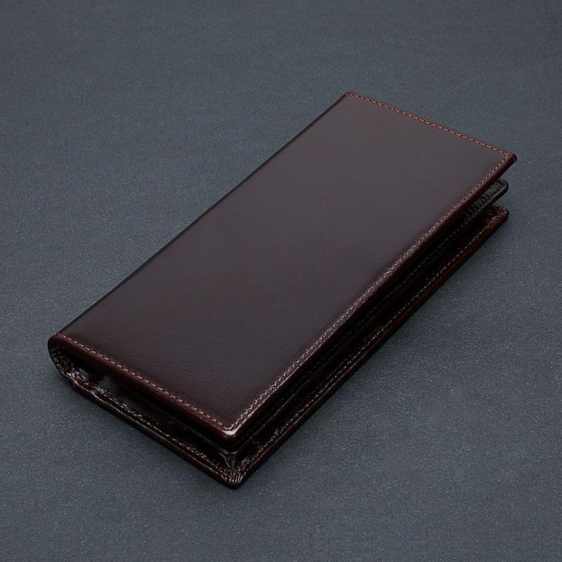 Monedero de cuero auténtico para Hombre, billetera y monederos, diseño largo, plegable, Vintage